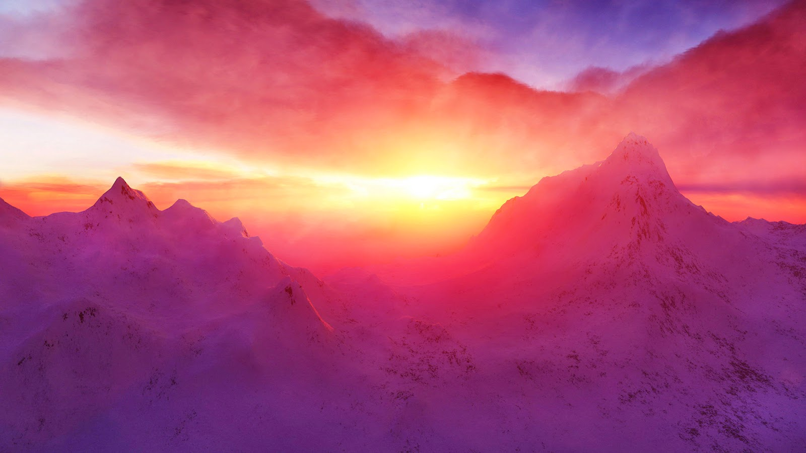 beautiful nature images and wallpapers: snow mountain sunset