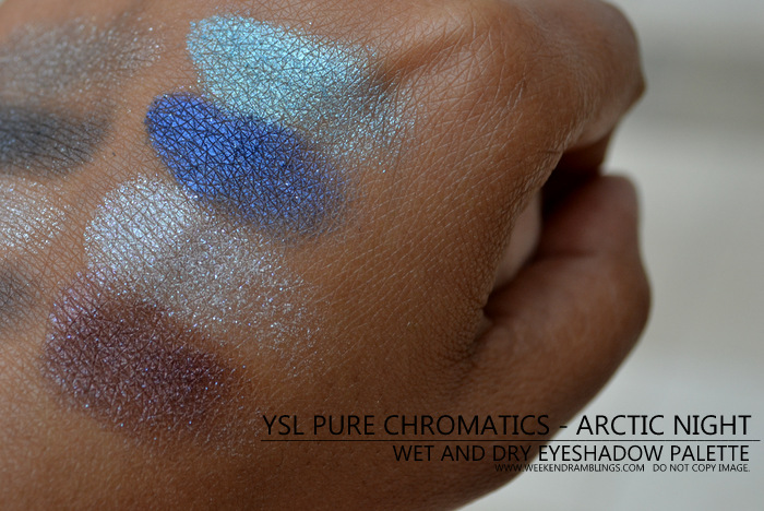 YSL Pure Chromatics Arctic Night Wet Dry Eyeshadow Palette Holiday Makeup 2012 Collection Indian Beauty Blog Dark Skin Swatches