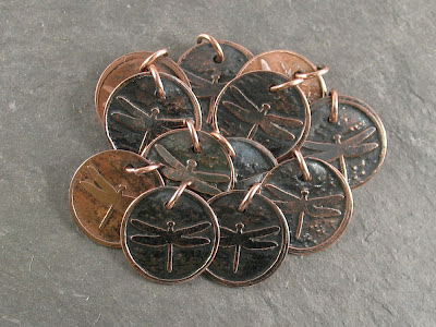 finished etched copper tags