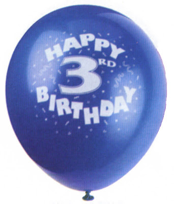 blue balloon reading happy third birthday