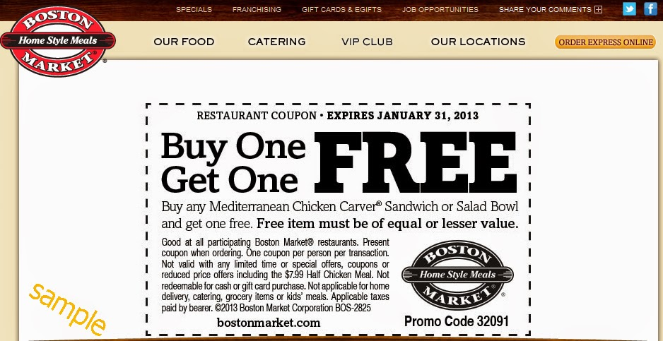 Boston market online coupons