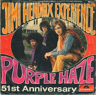 Portada del 51 aniversario del single Purple Haze de Jimmi Hendrix, 1967