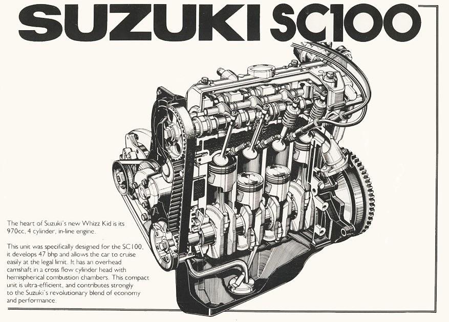 Silnik Suzuki SC100. Cztery cylindry o pojemności 970cm3 oraz moc 47 KM. Samochód należy do segmentu kei car, czyli małe samochody z niewielkimi silnikami.
