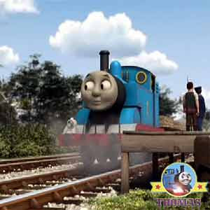 Thomas the train engine Winston the red railcar must hurry to Toby the tram engine Whistling woods
