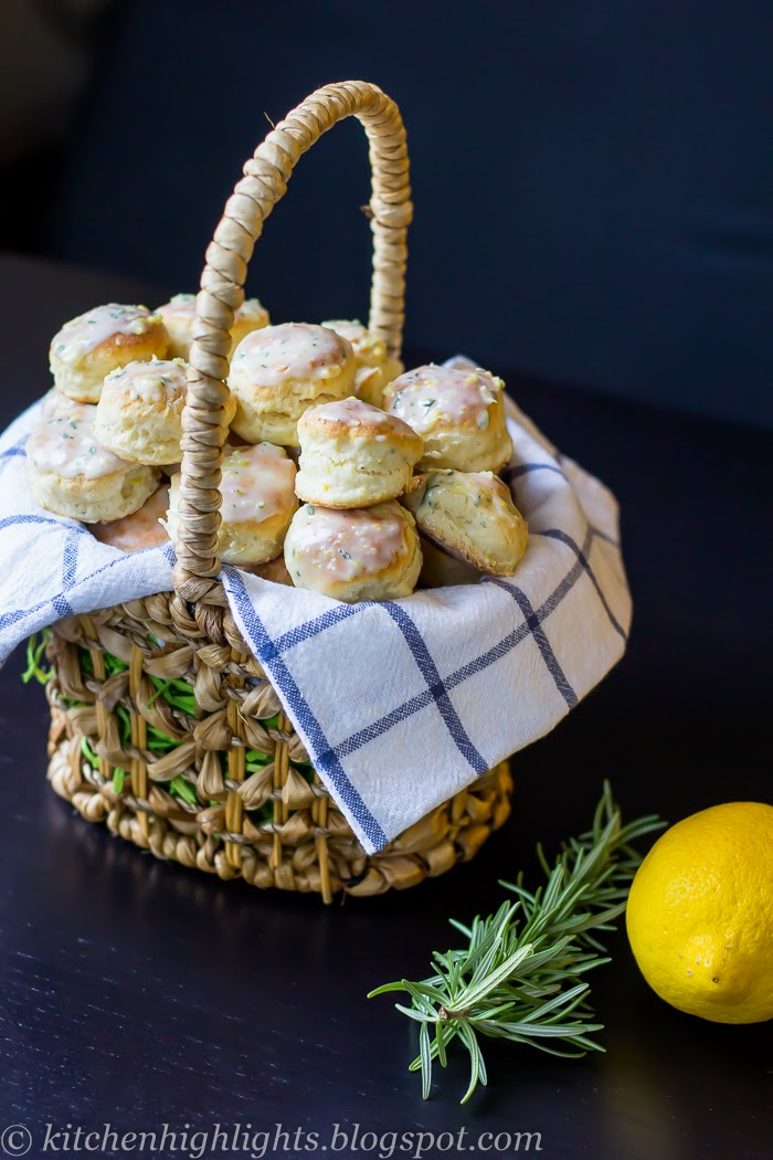 These lemon rosemary scones are mildly sweet and have a light and tender crumb