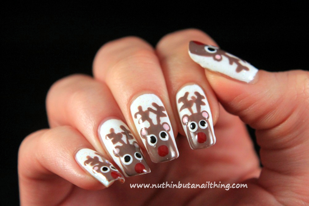 Nuthin but a nail thing reindeer nail art tutorial there you go rudolph nails done arent they cute ive gone the full hog and done them on every nail but theyd look really cute as just an accent nail prinsesfo Choice Image