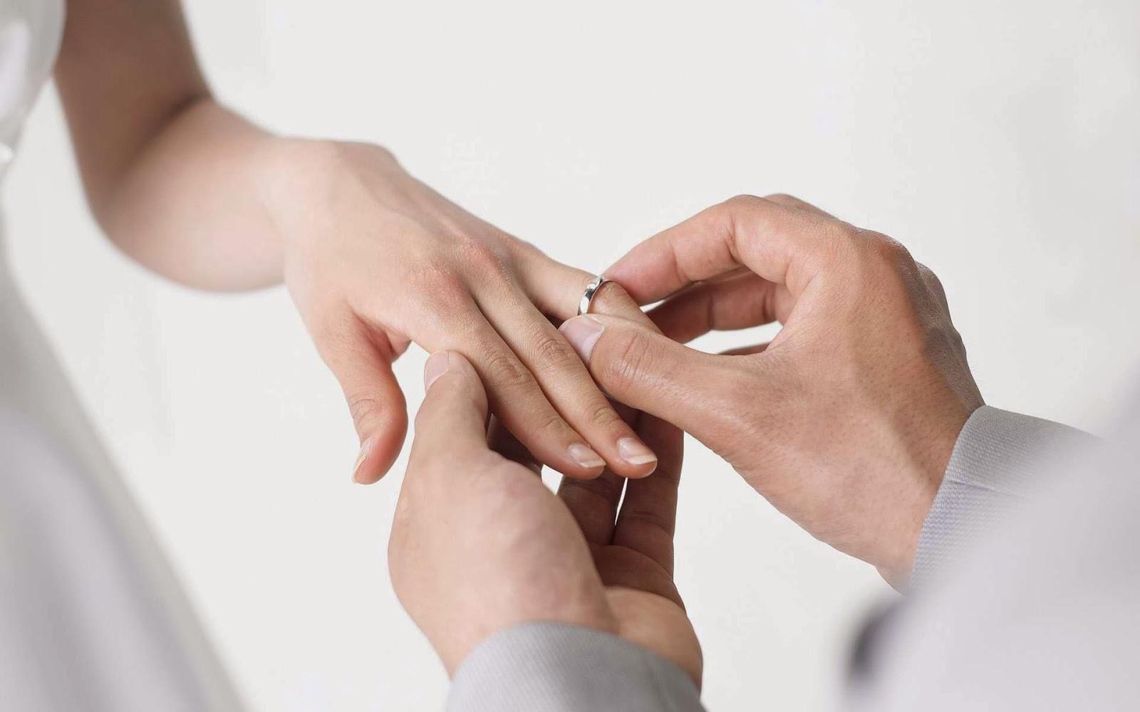 Wedding ring hand finger