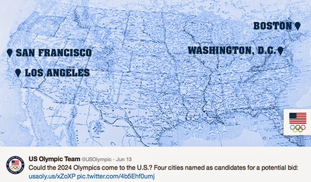 Short list of potential American bid cities for the 2024 Olympics
