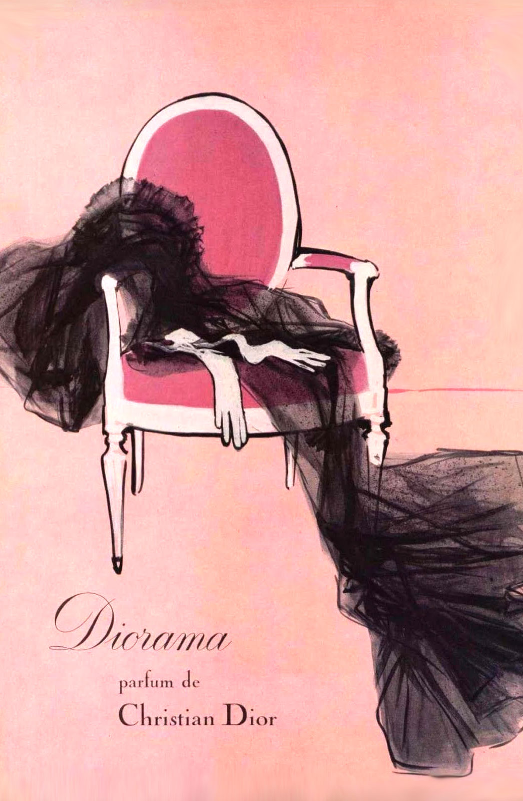 Christian Dior Diorama vintage perfume ad by Rene Gruau via fashioned by love