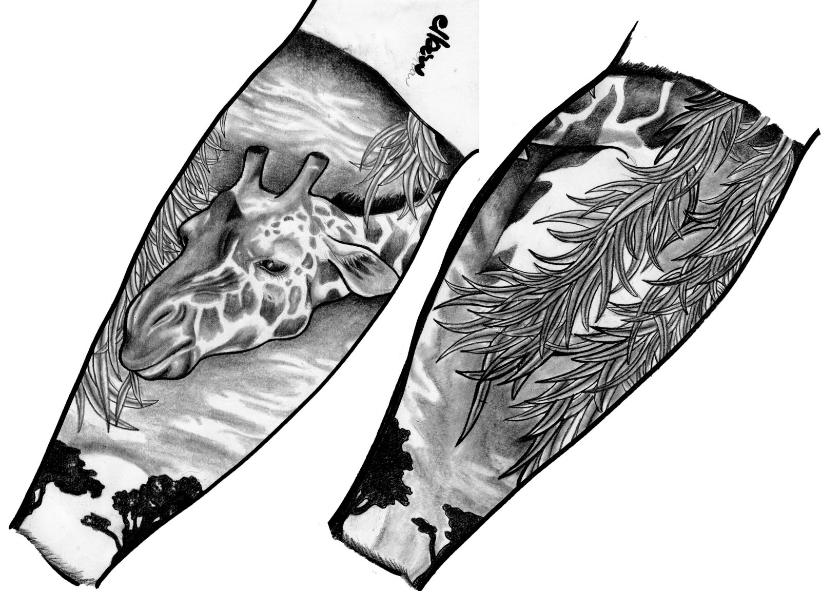 Half Sleeve Tattoo Design Template Giraffe Half-sleeve Tattoo