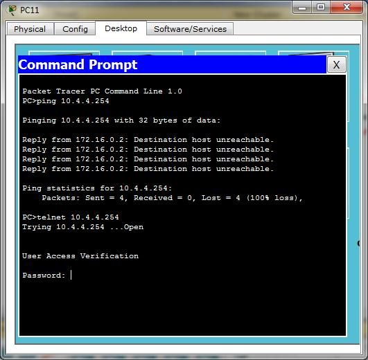 Test ping dan telnet dari PC11