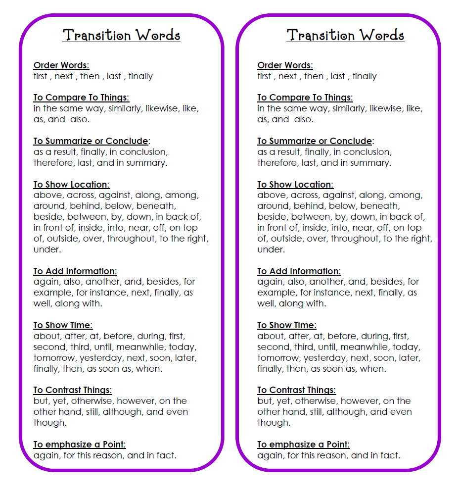transition words on essays Home tutorial & instructional programs english center the process and type of writing guide to transition words and sentence samples guide to transition words and sentence samples.