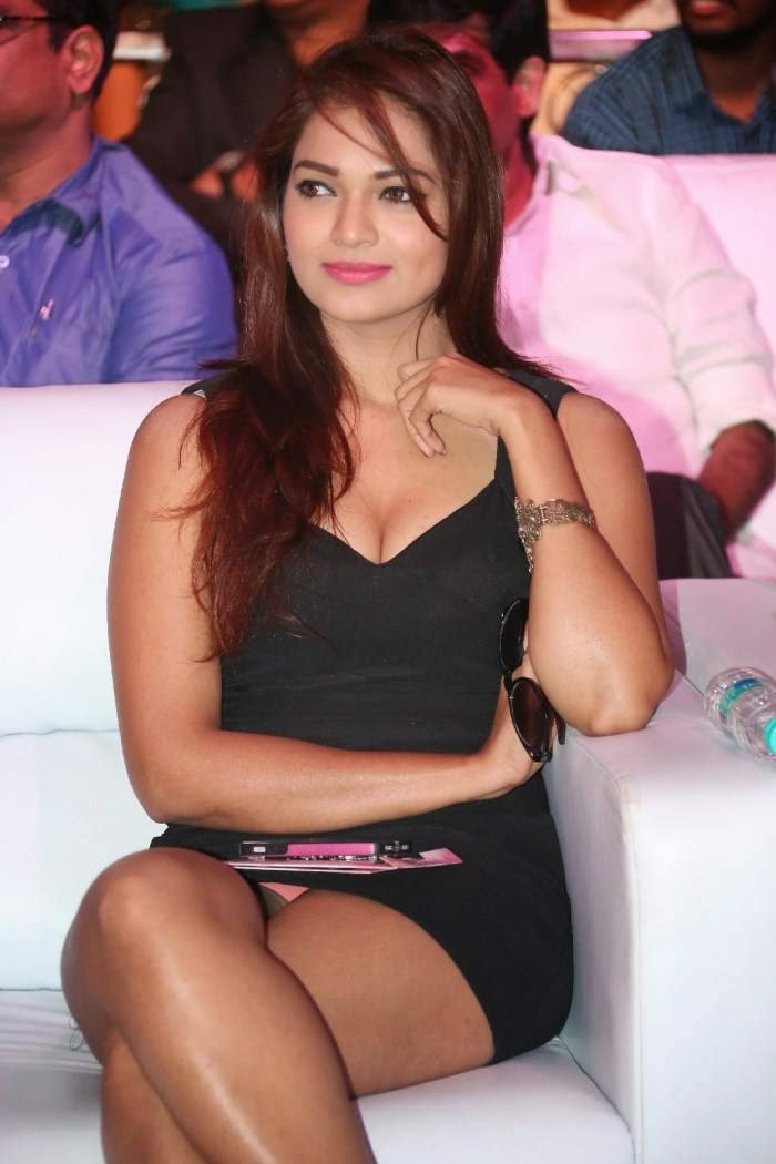 Actress Ashwi Latest Cute Hot Black Mini Skirt Dress Spicy Thighs Show Photos Gallery At Hyderabad Love Story Movie Audio Launch