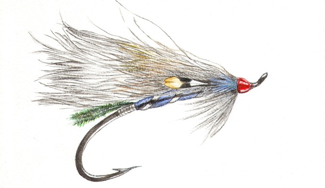 fly fishing drawing - photo #15