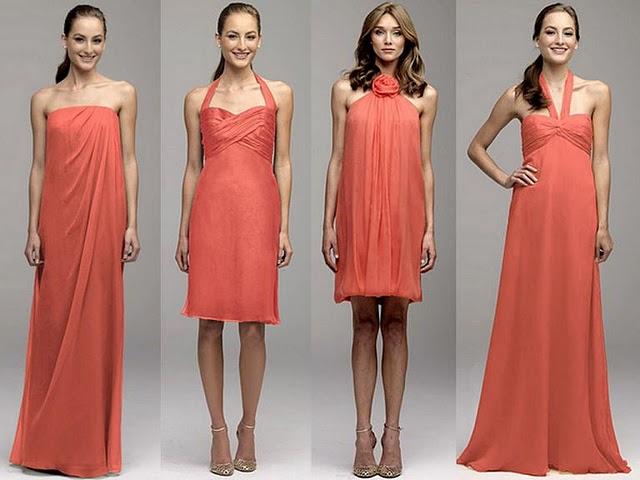 Bridesmaids Gowns Salmon Orange Bridesmaids