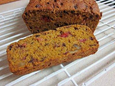 fresh cranberry pumpkin bread