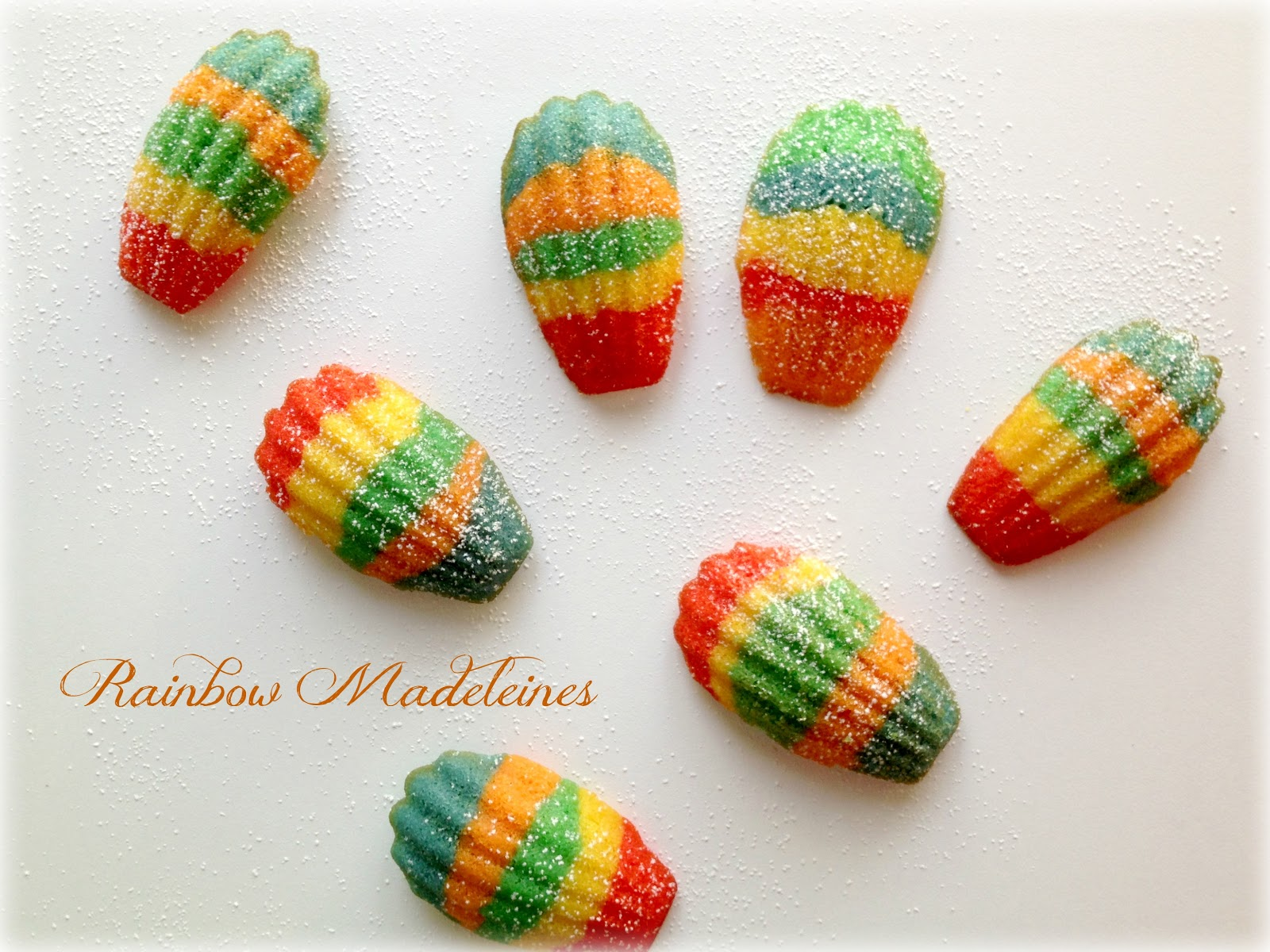Sugar Swings Serve Some rainbow madeleines for a virtual baby