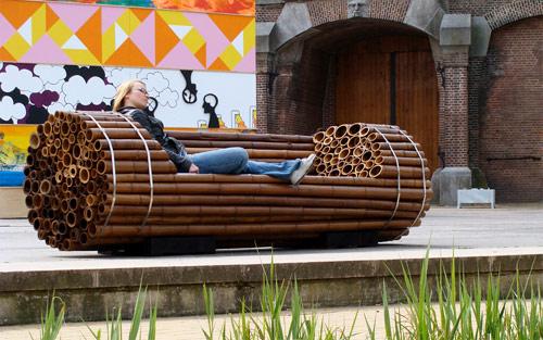 mobiliario urbano jardim : mobiliario urbano jardim:anatomia arquitetônica: Mobiliário Urbano / Banco de Jardim de Bambu