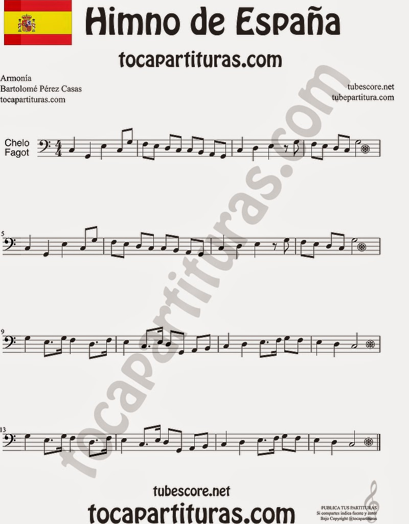 Himno Nacional Español Partitura de Violonchelo y Fagot Sheet Music for Cello and Bassoon Music Scores