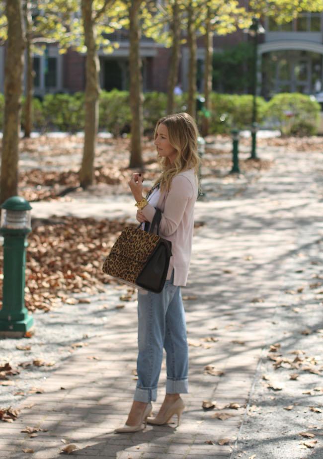 loft tee, halogen sweater, boyfriend jeans, kate spade heels, boden handbag