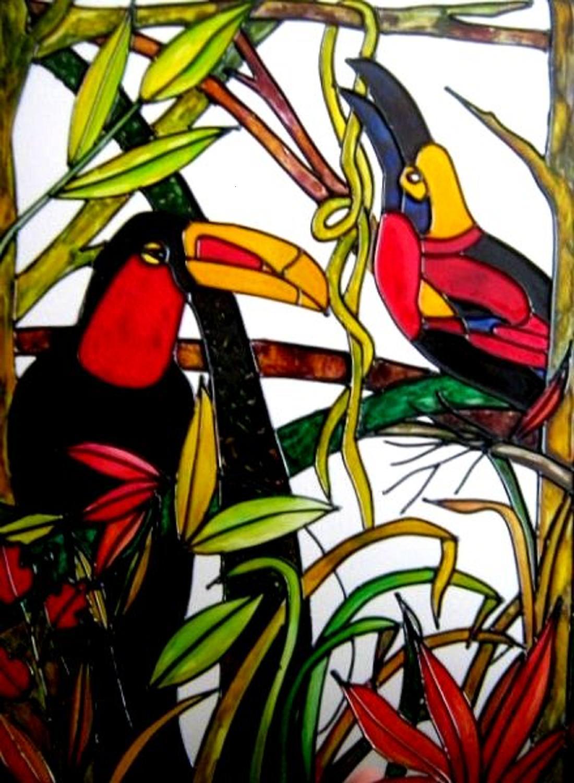 Tucanes   Falso Vitral   Pintura Sobre Vidrio