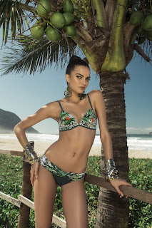 Barbara Fialho in Sexy Alluring Trendy Bright Tropical Prints Bikinis for Ki Korpo