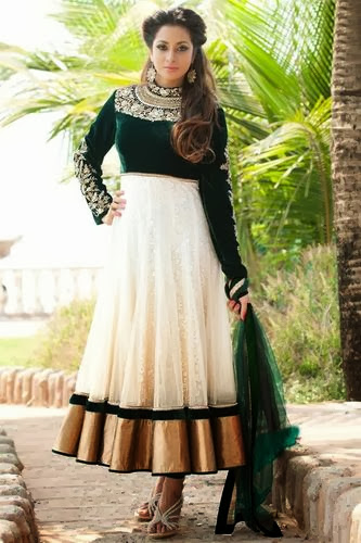 Bottle Green Velvet High Neck Salwar