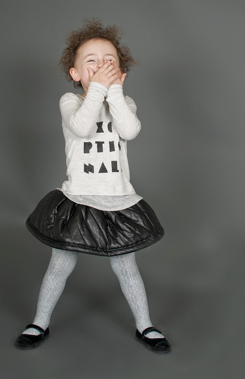 Quilted faux leather skirt in combination with the cool graphic tee by Omamini AW14/15 kidswear collection