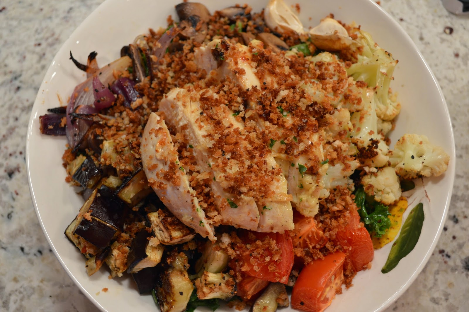 ... good food.: Roasted Balsamic Vegetables + Grilled Chicken Kale Bowl