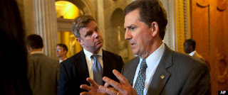 Sen. Jim DeMint is interviewed on Capitol Hill in Washington, Thursday, July 12, 2012. (AP Photo/Jacquelyn Martin)
