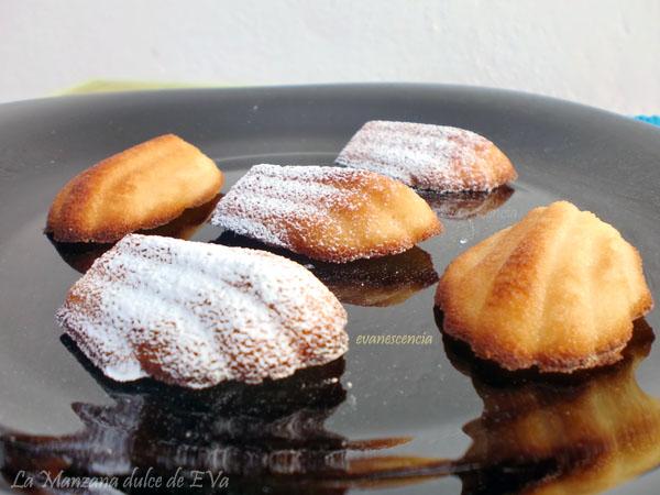 madeleines con azúcar glas