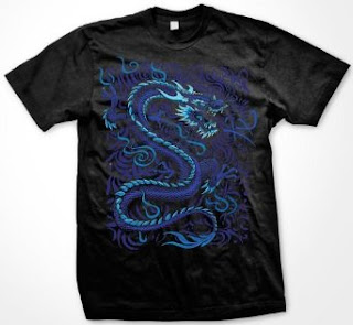 Blue Dragon T-Shirt, Liquid Blue Asian Dragon Fantasy Oversized Designs (Many Colors)