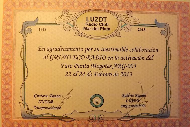 Hermoso Recuerdo de nuestros hermanos del LU2DT Radio Club Mar del Plata
