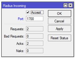 mikrotik - radius port incoming