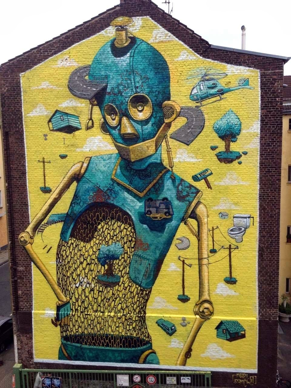 Pixel pancho rusted ideas new street art in dusseldorf for Mural street art