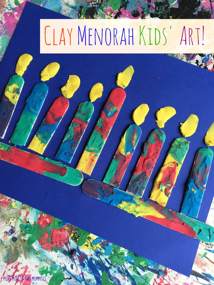 Mini monets and mommies kids 39 hanukkah clay craft menorah for Menorah arts and crafts