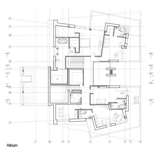 Arquitectura de casas moderna casa residencial rusa de for Planos de oficinas administrativas