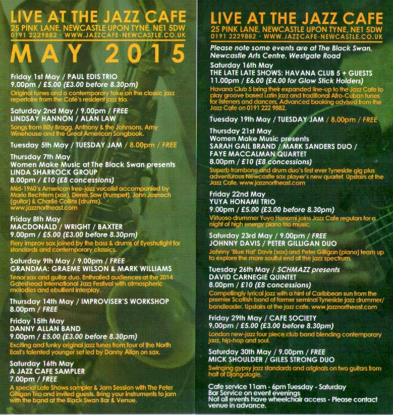 Jazz Café May Program