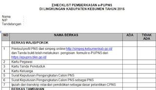 Berkas PNS yang Wajib Dikumpulkan untuk Pemberkasan PUPNS 2015