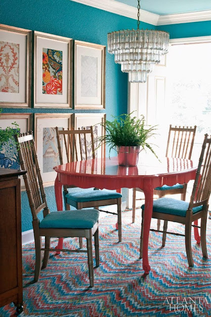colorful turquoise dining room