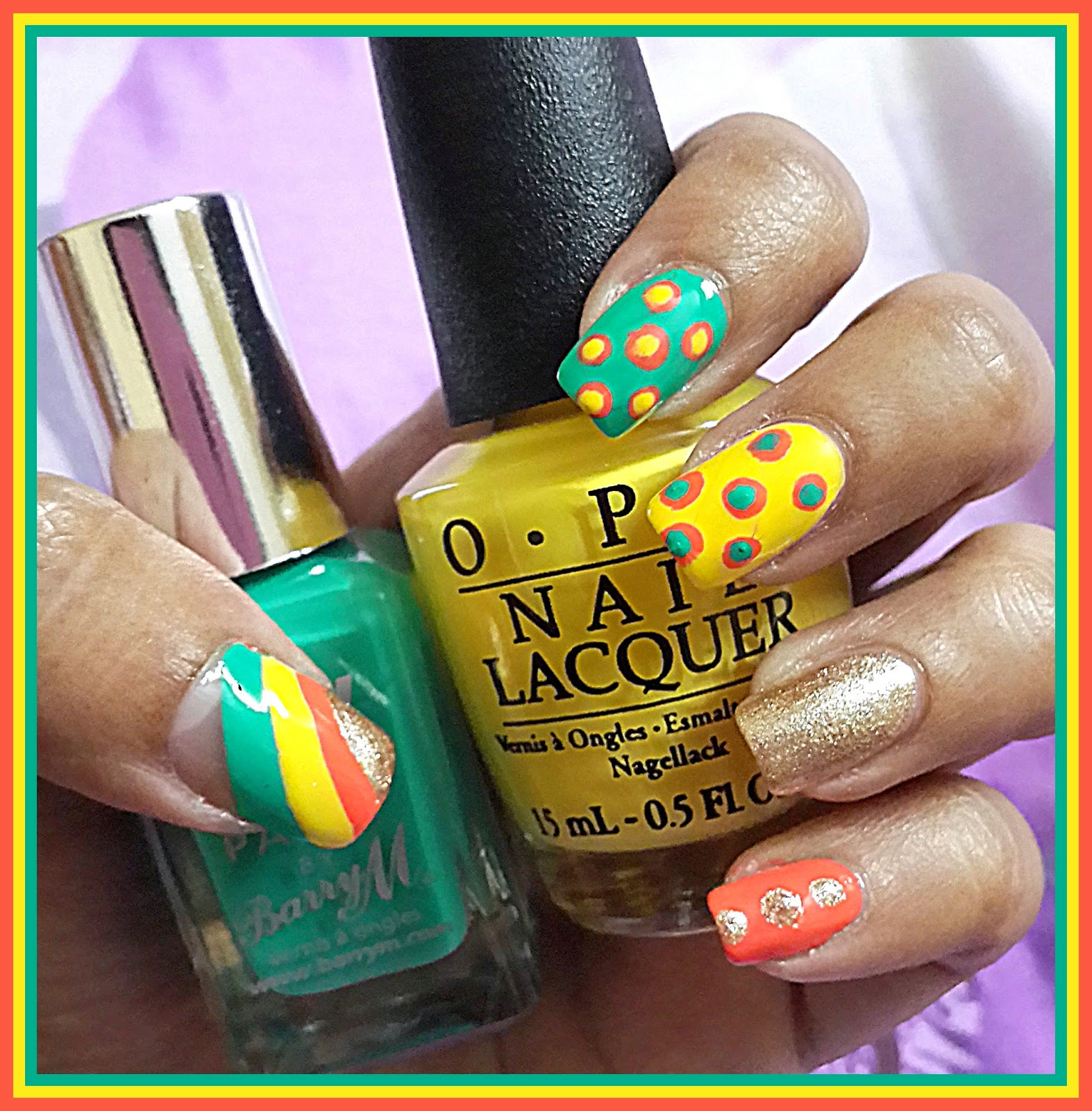 Lipflation: Cute Colorful Manicure with Dots, Stripes and a Gold ...