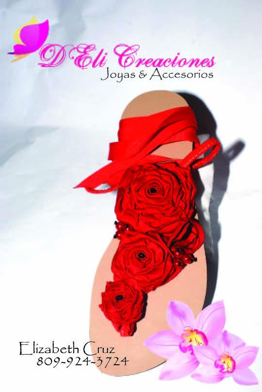 D eli creaciones sandalias rojas con flores - Flores de telas hechas a mano ...