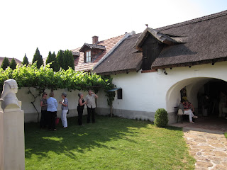 The courtyard at Haydn's birthhouse - note the thatched roof