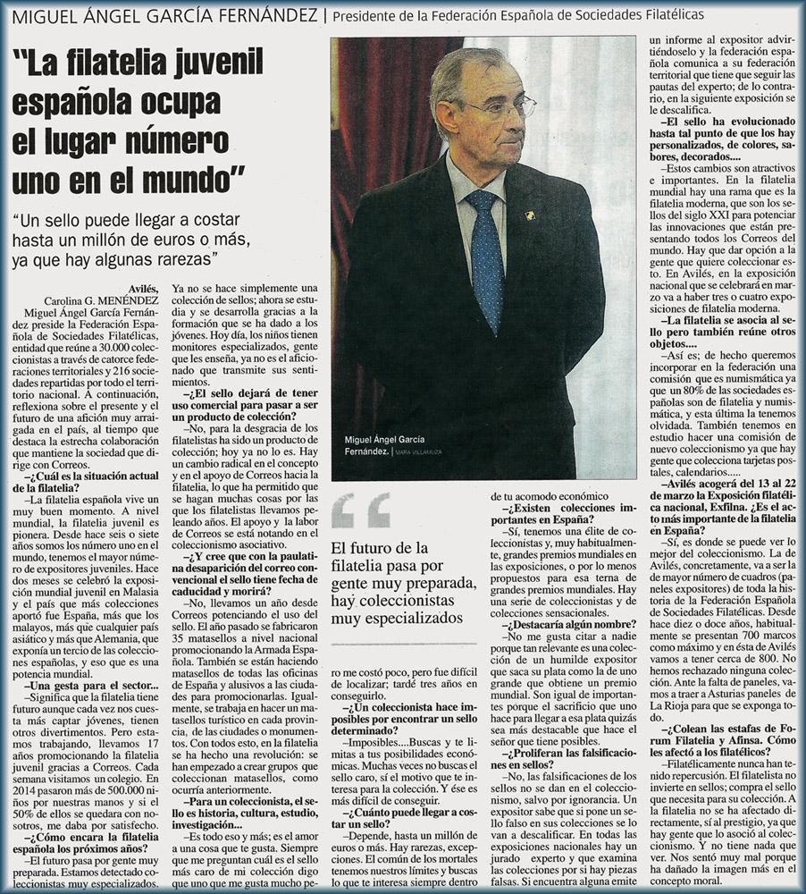 Entrevista en La Nueva España al presidente de FESOFI