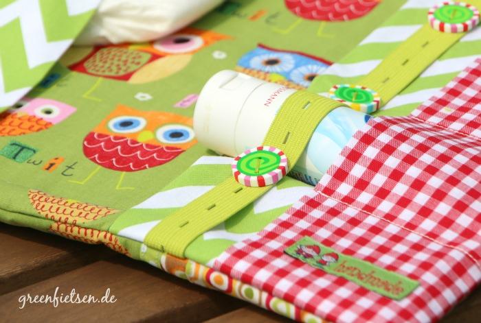 Nähen fürs Baby | Windeltasche mit Eulen - Innenfächer