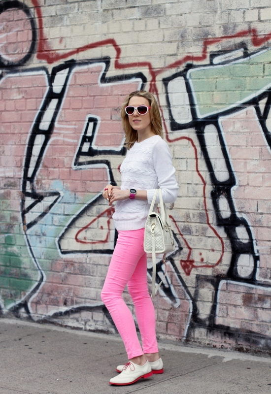 Madewell Old-School Cableknit Sweater Asos Petite Skinny Jean In Neon Pink Cole Haan Alisa Oxford Ivory-Azalea Cole Haan Perforated Vintage Valise Brooke Flap Tote Bag Betsey Johnson White Pink Sunglasses Anne Klein Sport Pink Silver Watch Sinful Colors Professional Snow Me White Queen of Beauty Nail Polish