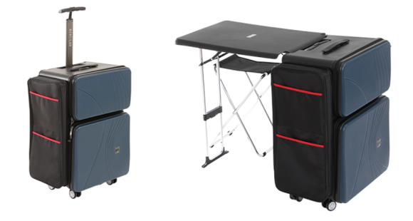 Rolling suitcase with built-in desk is perfect for mobile ...