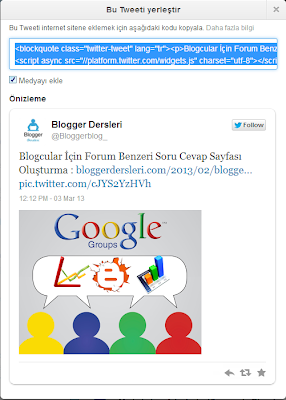 Blogger Yayın İçine Tweet Ekleme