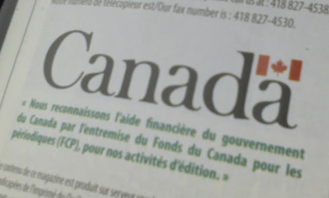 Picture of Canada Periodical Fund notice inside magazine.