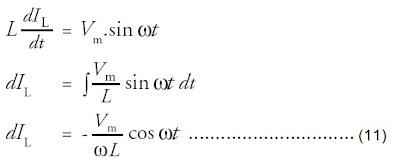Tegangan pada induktor VL setara dengan tegangan sumber V